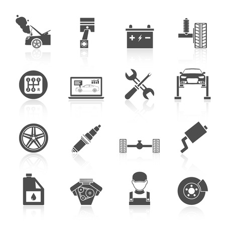 Auto car service icons black set of battery tires wheel engine brake repair isolated vector illustration. Иллюстрация