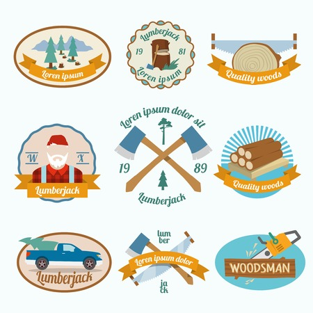 deforestation: Lumberjack woodcutter colored labels set with wood log saw tree  isolated vector illustration