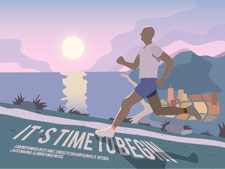 Running man outdoor sport fitness lifestyle time to begin poster vector illustration