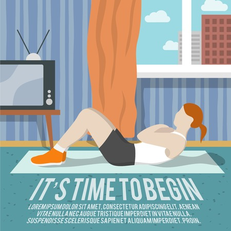 begin: Abs training woman at home sport fitness lifestyle time to begin poster vector illustration Illustration