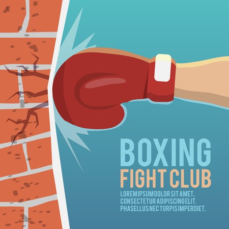 hand glove: Boxer gloves hitting brick wall cartoon boxing fight club poster vector illustration
