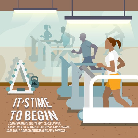 People training on treadmills in gymnasium fitness lifestyle time to begin poster vector illustration