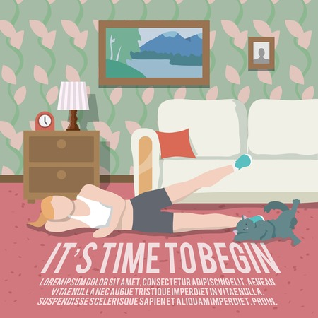 begin: Woman doing workout at home fitness lifestyle time to begin poster vector illustration