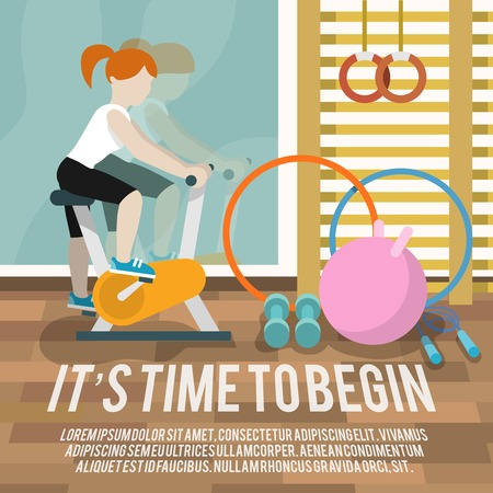 begin: Woman on cycling machine in gymnasium fitness lifestyle time to begin poster vector illustration Illustration