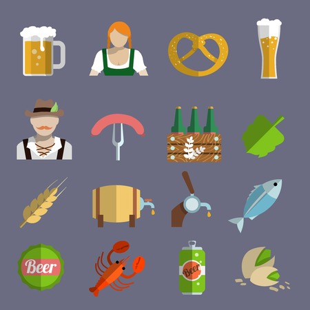 Beer icons set with barrel glass and fork with sausage isolated vector illustration Vector