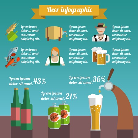 Beer draught and bottle alcohol beverage infographic set vector illustration Vector