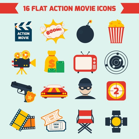 action movie: Action film movie production flat icons set of tv boom light camera isolated vector illustration