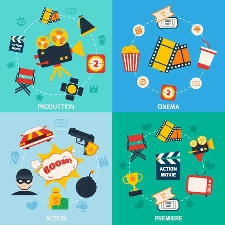 movie theater: Action movie cinema production premiere flat compositions isolated vector illustration