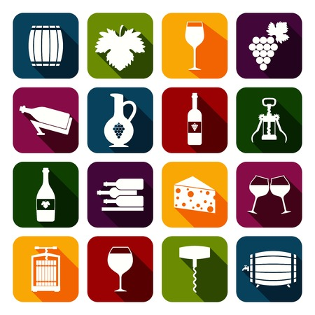Wine alcohol drink flat icons set of grape cheese corkscrew isolated vector illustration Vector