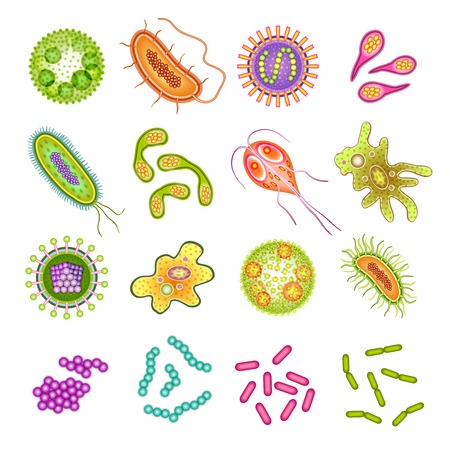 biology: C�lulas de virus Las bacterias y los g�rmenes de microorganismos aislados iconos ilustraci�n vectorial