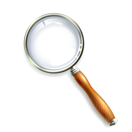Magnifying glass with wooden handle isolated on white background vector illustration