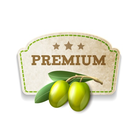 Green olives premium food kitchen carton badge isolated on white background vector illustration Vector