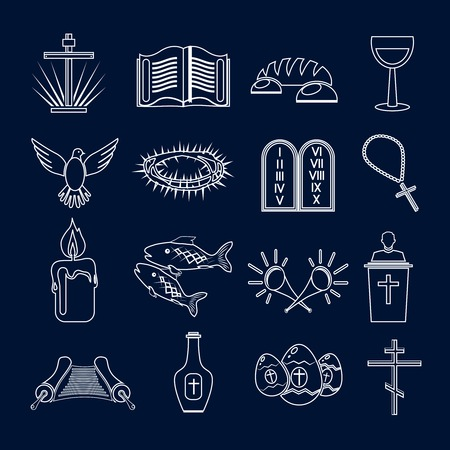 protestantism: Christianity traditional holy religious symbols outline icons set with thorns fish candle isolated vector illustration