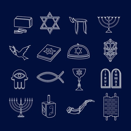 shofar: Jewish church traditional religious symbols outline icons set isolated vector illustration Illustration