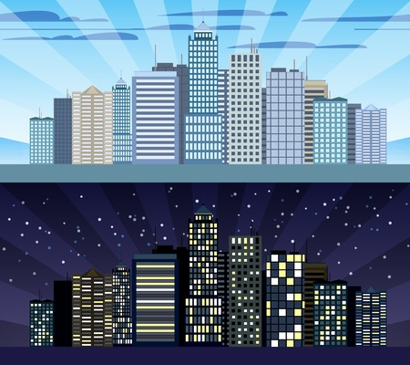 urban building: Modern urban building cityscape skyline day and night tileable borders set isolated vector illustration