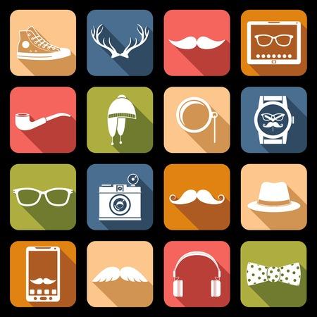 Hipster geek urban fashion elements icons flat set vector illustration Vector