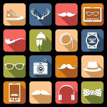 nerd: Hipster geek urban fashion elements icons flat set vector illustration