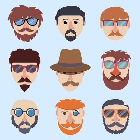 Hipster boy faces with beards and mustaches in sunglasses isolated vector illustration Vector