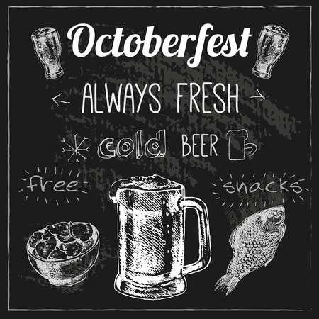 snack bar: Oktoberfest traditional brewing techniques cold  fresh beer with free snacks advertising black chalk board vector illustration