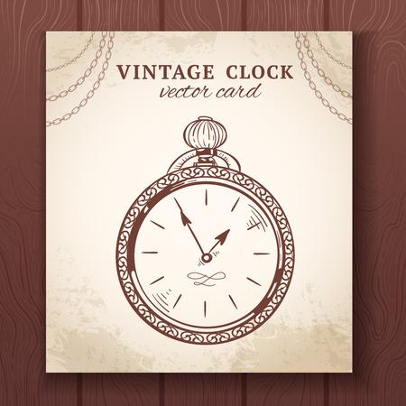 pocket book: Old vintage retro sketch pocket watch  paper card vector illustration