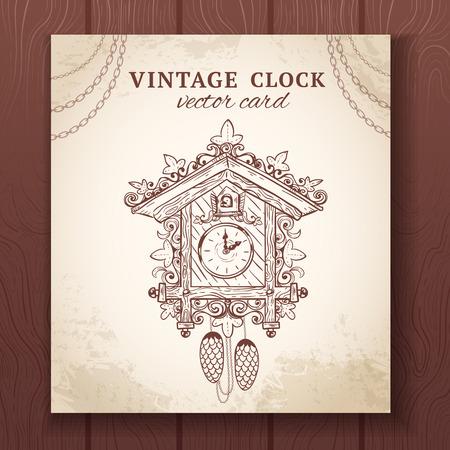 cuckoo: Old vintage retro sketch cuckoo clock paper card vector illustration