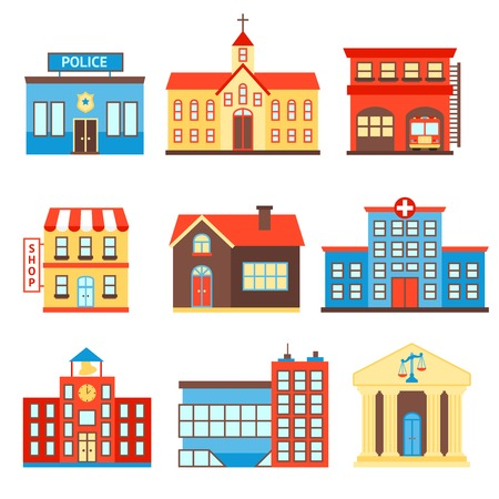 building fire: Government building icons set of police shop church isolated vector illustration