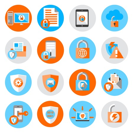 cyber: Business data protection technology and cloud network security icons set flat vector illustration