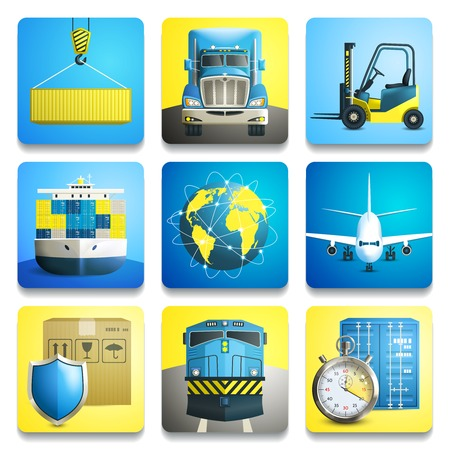 Logistic shipping realistic icons set of truck airplane train isolated vector illustration Vector