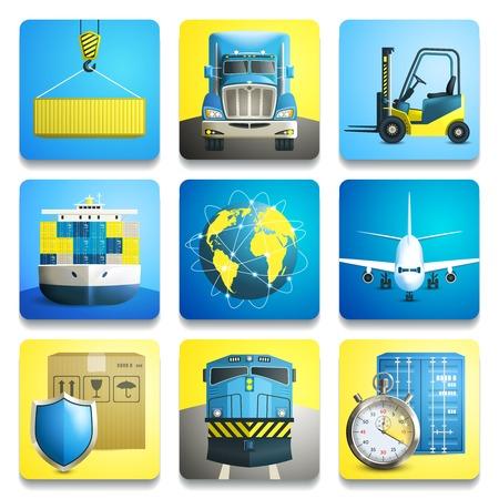 Logistieke verzending realistische pictogrammen set van geïsoleerde vrachtwagen vliegtuig trein vector illustratie Stock Illustratie