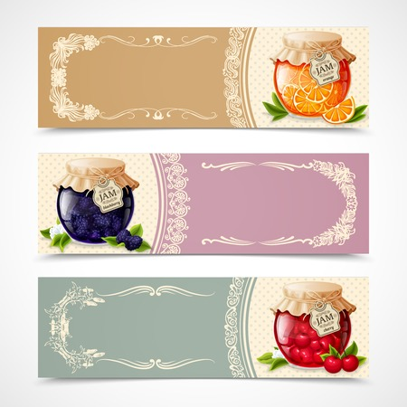 Natural organic orange blackberry and cherry jam in glass jar horizontal banners set isolated vector illustration