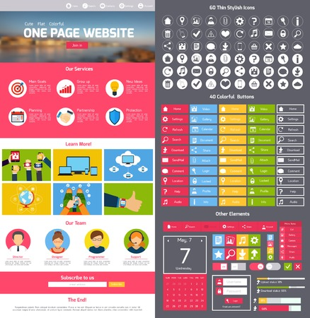 search bar: Flat website design template with menu icons and navigation layout elements vector illustration Illustration