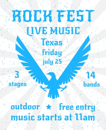 fest: Rock fest live music party elevated wings eagle silhouette emblem freedom symbol poster invitation abstract vector illustration Illustration