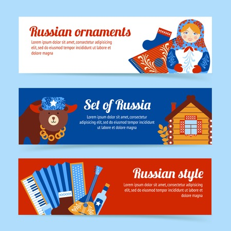 russian food: Russia travel style and ornaments banner set isolated vector illustration