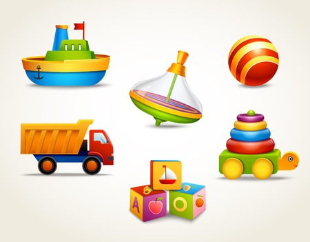toy: Decorative children toys set of ship ball truck isolated vector illustration