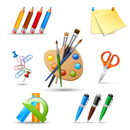 proficiency: Art color palette and painting drawing tools set isolated vector illustration