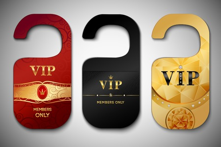 Vip red black and golden door tags set isolated vector illustration Vector