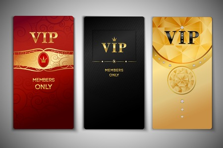 vip badge: Vip red black and golden premium cards set isolated vector illustration Illustration