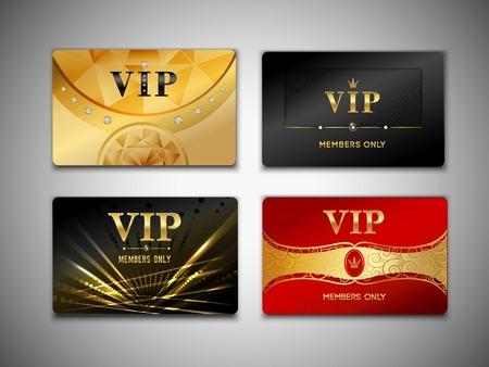 vip symbol: Peque�o vip rojos tarjetas platino prima de negro y de oro fijadas aisladas ilustraci�n vectorial