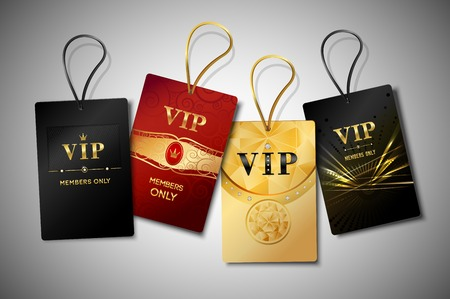 vip badge: Vip red black and golden premium club tags set isolated vector illustration.