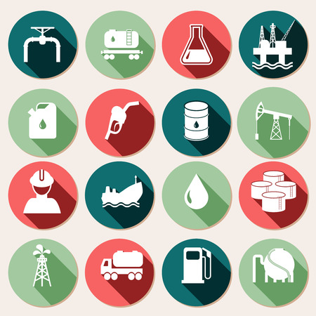 gas refinery: Oil industry petrol and gasoline energy icons set isolated vector illustration