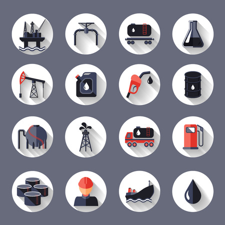 Oil industry fossil conservation and transportation icons set isolated vector illustration Çizim