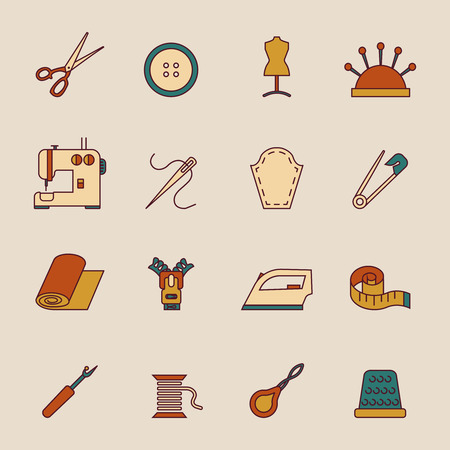 seam: Sewing equipment icons set with button dress form machine isolated vector illustration