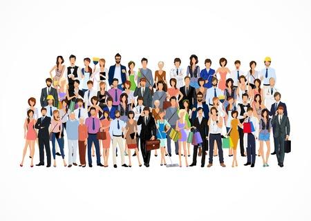foules: Grande foule groupe de personnes adultes professionnels vecteur d'affiche illustration Illustration