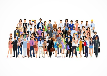 Large group crowd of people adult professionals poster vector illustration Çizim