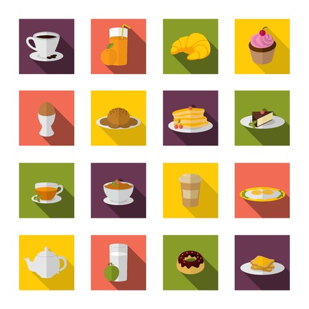 Breakfast food and drink icon flat set with bacon and eggs pancakes isolated vector illustration Vector