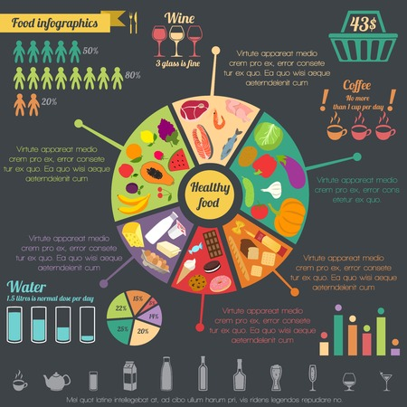 nutritious: Healthy food concept infographic with pie chart and icons vector illustration