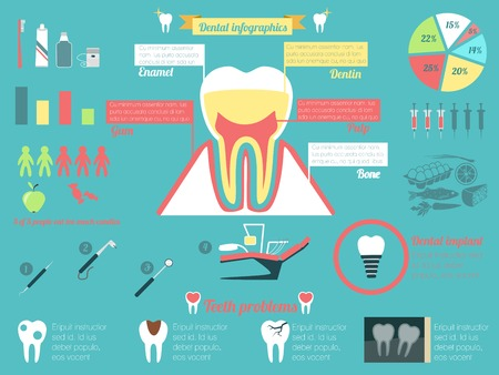 teeth whitening: Dental health and caries teeth medical instruments infographic set vector illustration.