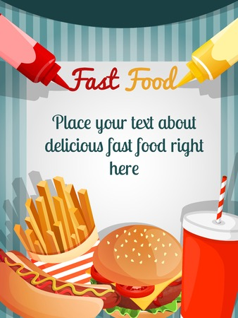 Fast junk food poster with hamburger french fries drink vector illustration Ilustração