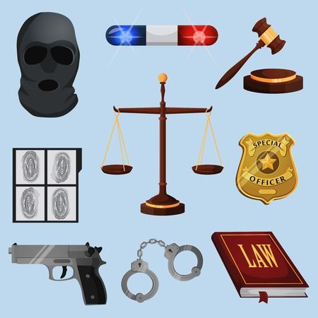 Law legal justice judge and legislation icons set with scales court gavel isolated vector illustration Vector