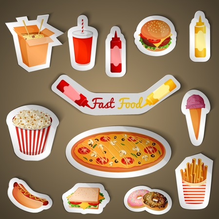 Fast junk food stickers set of popcorn pizza icecream isolated vector illustration Vector